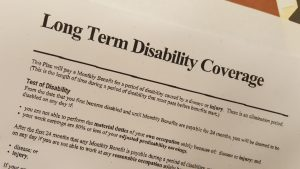 Picture of long term disability insurance policy