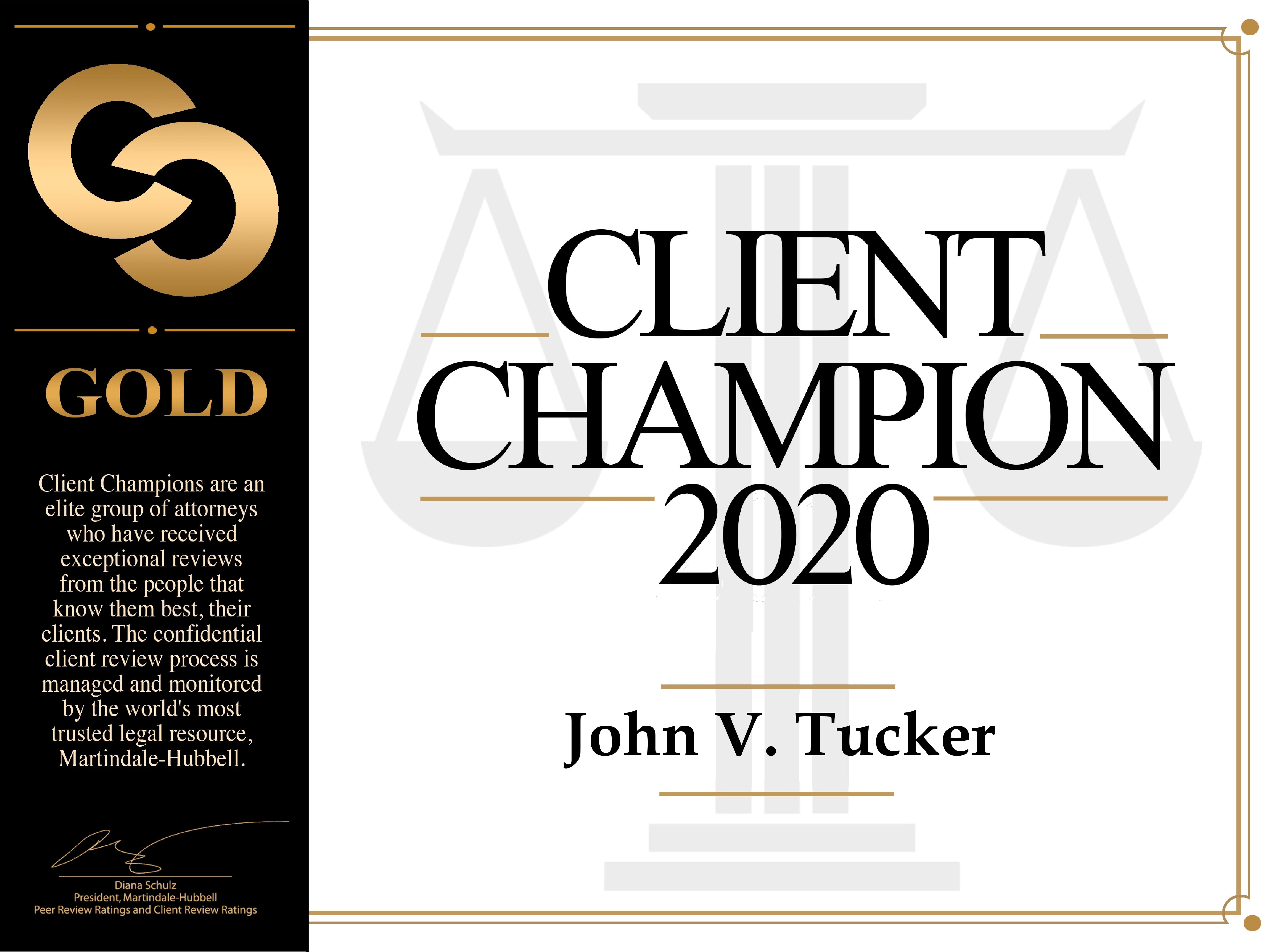 Graphic of Martindale-Hubbell Client Champion badge