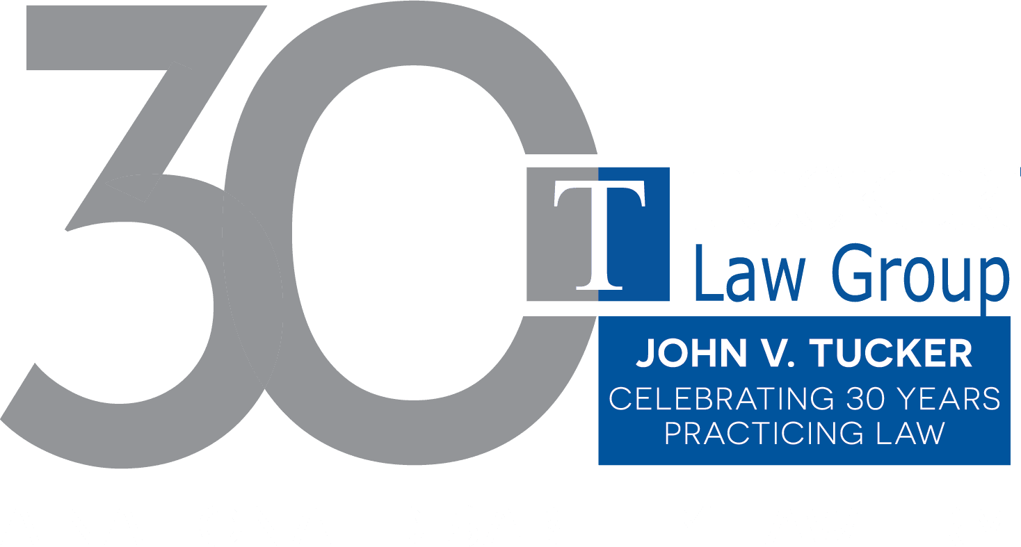 Tucker Law Group logo with white text and transparent background